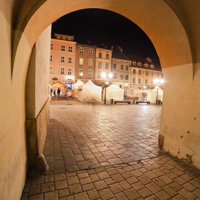 """Small Market Square at Night in Krakow"" stock image"
