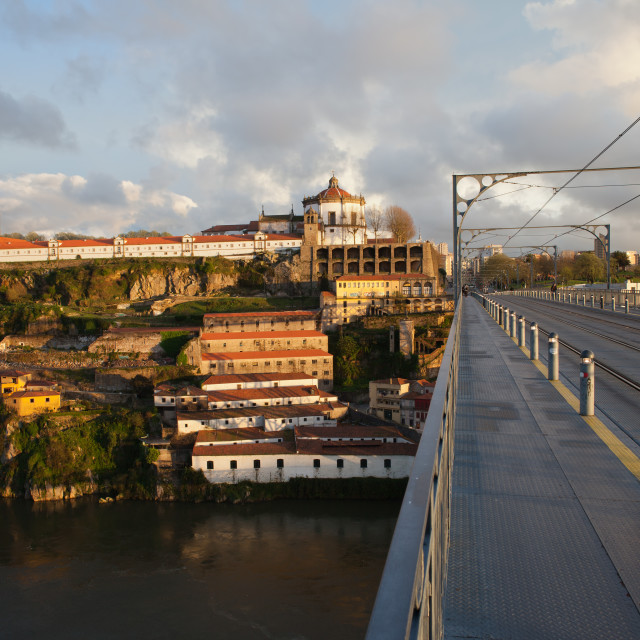 """Ponte Luis I and Serra do Pilar at Sunset in Portugal"" stock image"