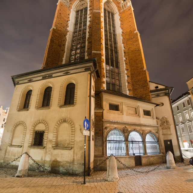 """Rear View of St Mary Basilica in Krakow at Night"" stock image"