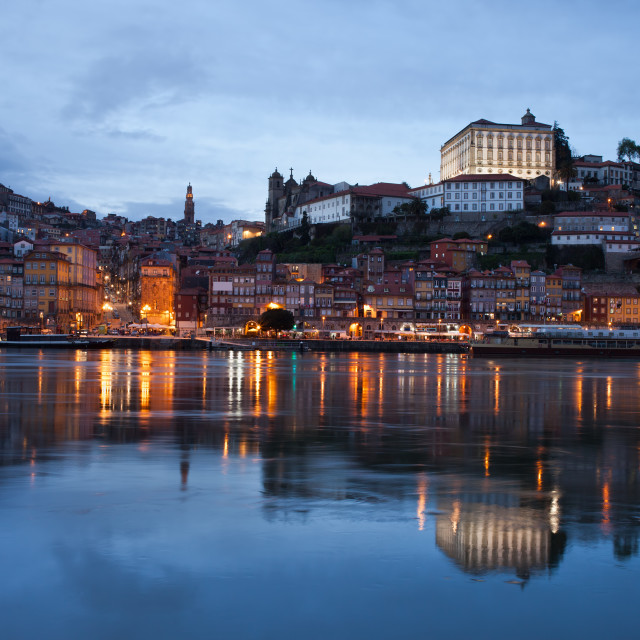 """City of Porto Skyline at Dusk in Portugal"" stock image"