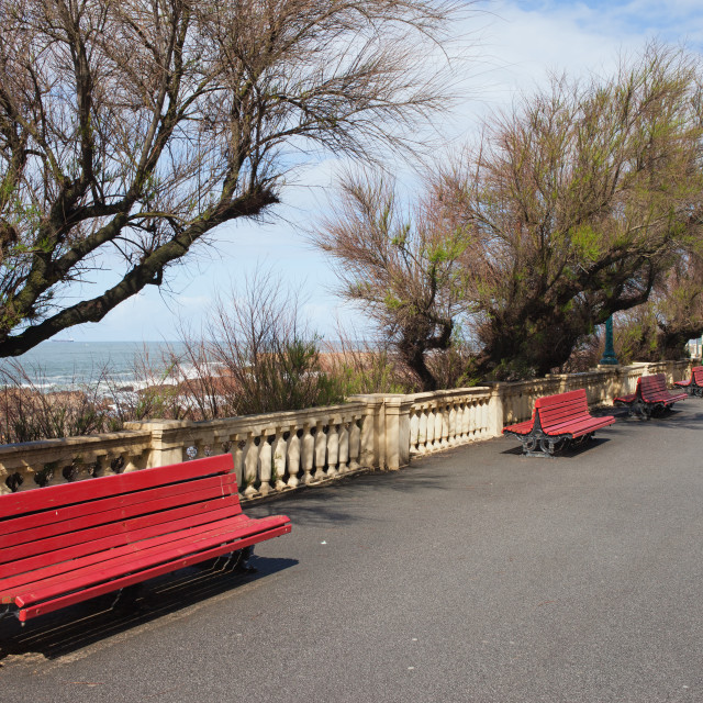 """Promenade with Benches along Atlantic Ocean in Porto"" stock image"