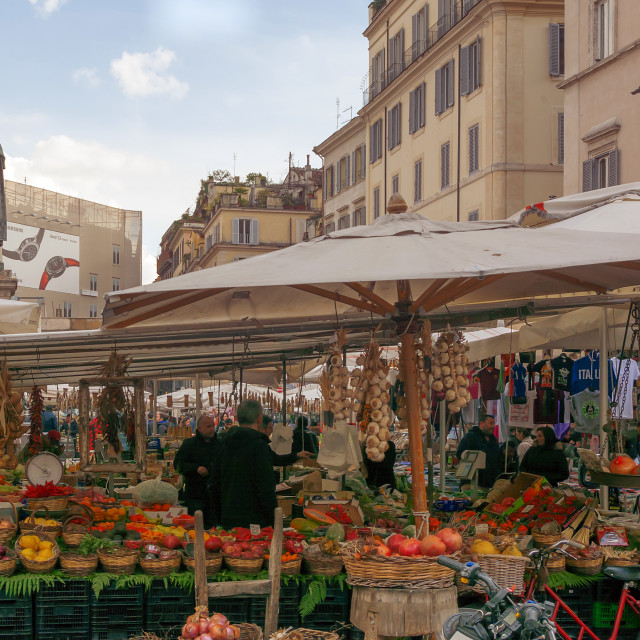 """Traditional outdoor food market of Campo de Fiori in Rome"" stock image"