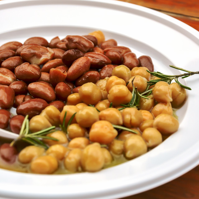 """beans and chickpeas dish with rosemary"" stock image"