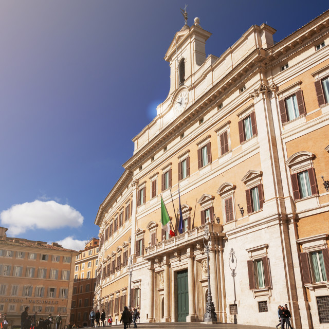 """Facade of the Montecitorio Palace in Rome"" stock image"
