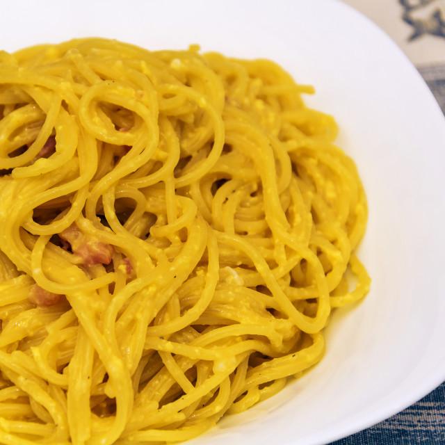 """spaghetti alla carbonara with bacon, eggs, and pepper"" stock image"