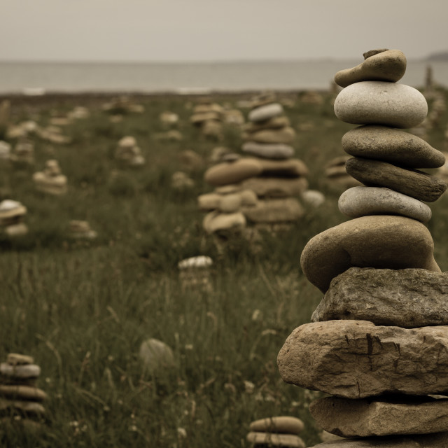 """""""Lindisfarne Cairns"""" stock image"""