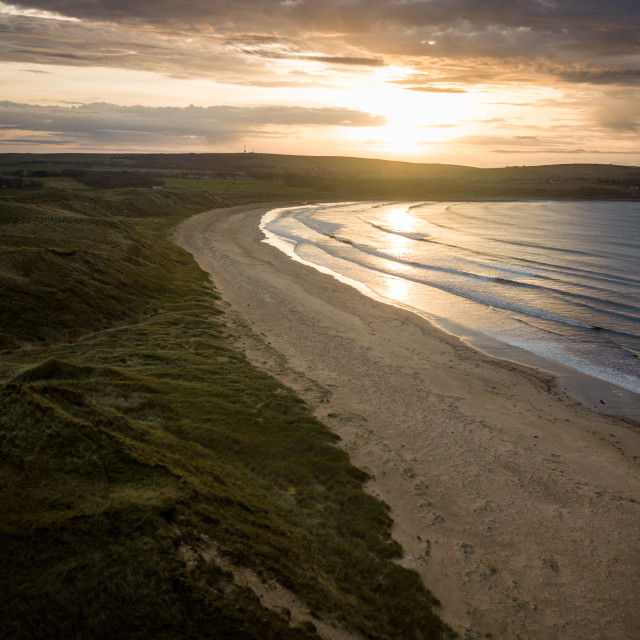 """Dunnet Beach Sunset from Above"" stock image"