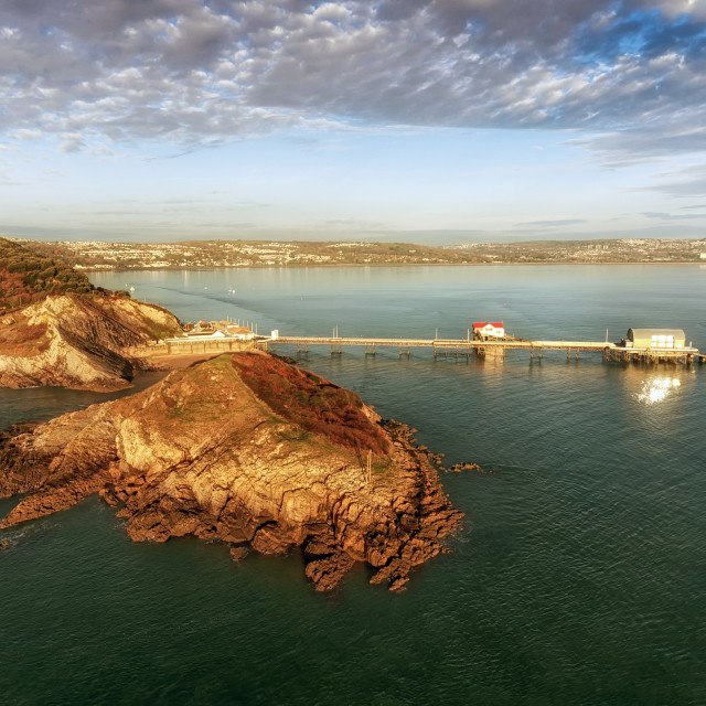 """""""Aerial view of Mumbles pier in Swansea"""" stock image"""