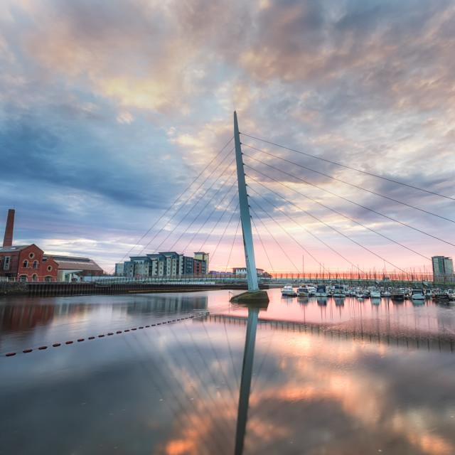 """Swansea marina and Millennium bridge"" stock image"