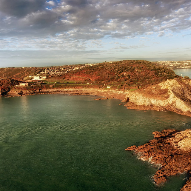 """Aerial view of Bracelet Bay"" stock image"