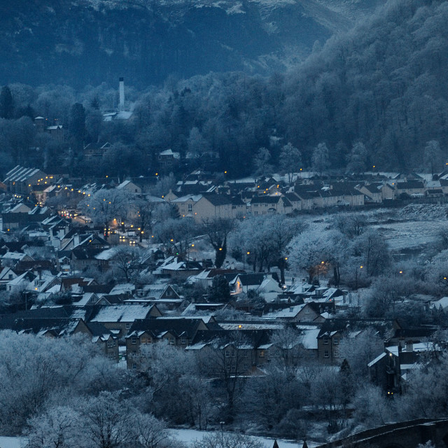 """Snowy Townscape."" stock image"