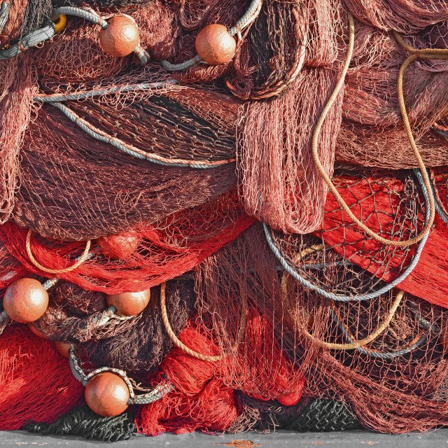 """Red Fishing Nets Abstract"" stock image"
