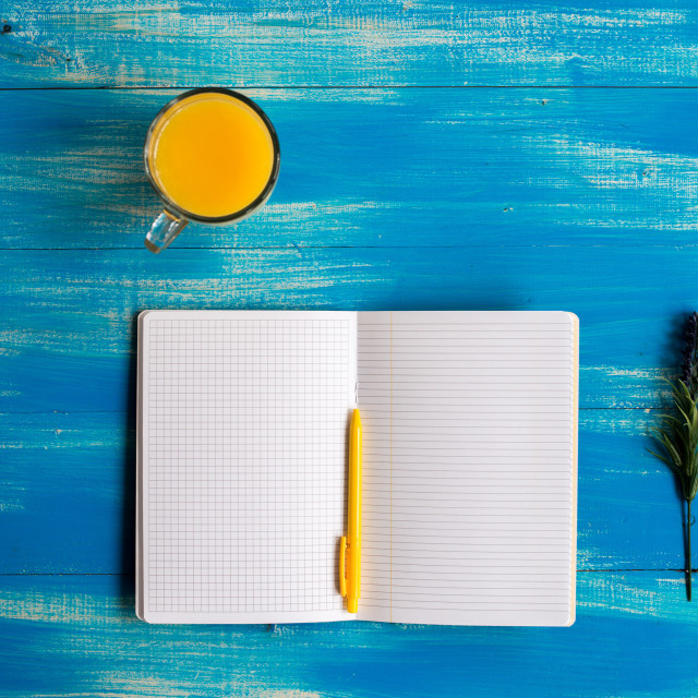 """notebook, healthy food, orange juice"" stock image"