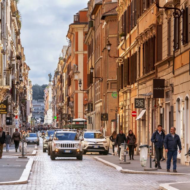 """people walking along the luxury shopping avenue Via del Babuino"" stock image"