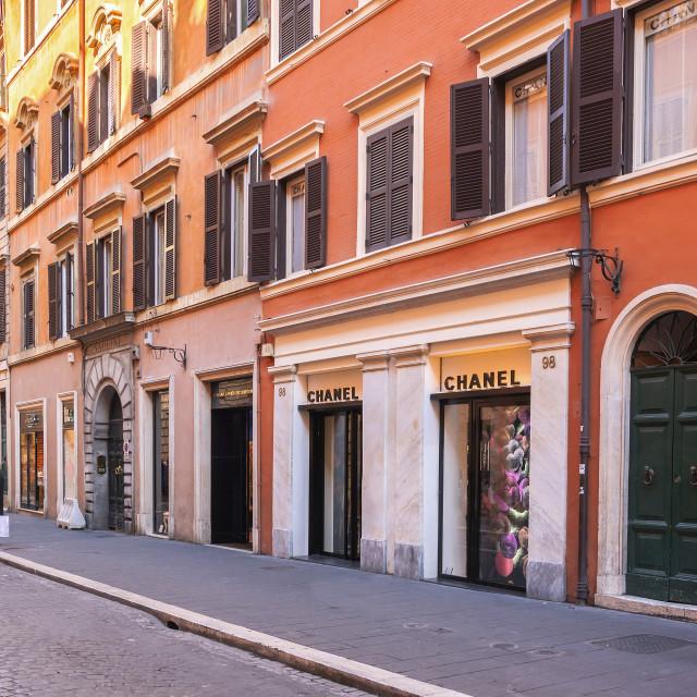 """""""The luxury shopping avenue Via del Babuino in Rome"""" stock image"""
