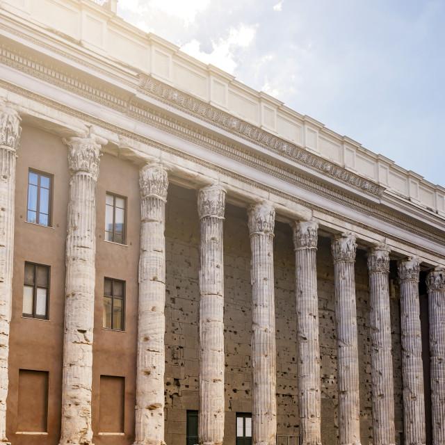 """the Temple of Hadrian in Piazza di Pietra in Rome"" stock image"