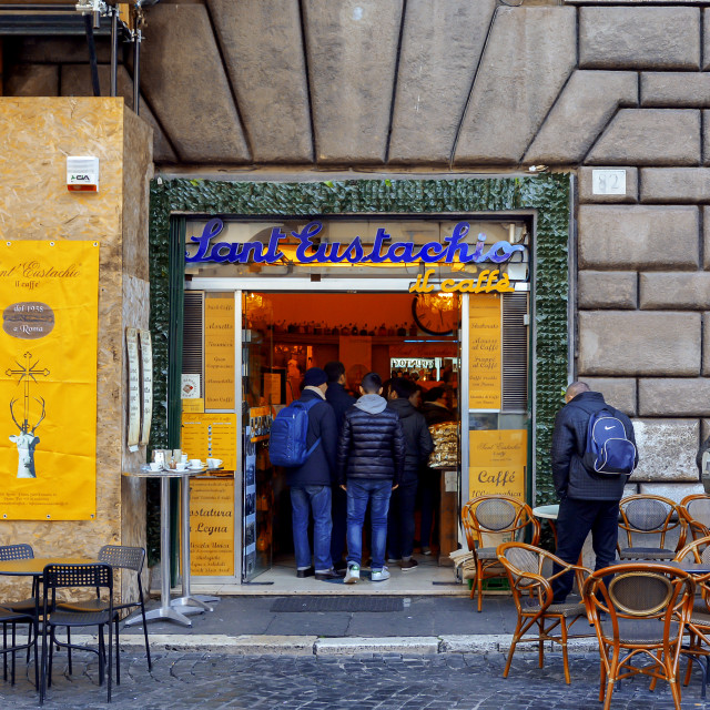 """Famous Sant Eustachio Cafe in Rome, Italy"" stock image"