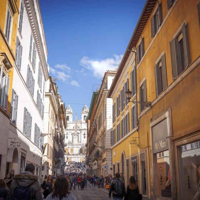 """The luxury shopping street via dei Condotti in Rome"" stock image"