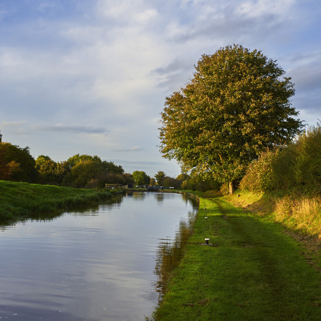 """""""Autumn scene at lock number two near Audlem on the Shropshire Union canal"""" stock image"""