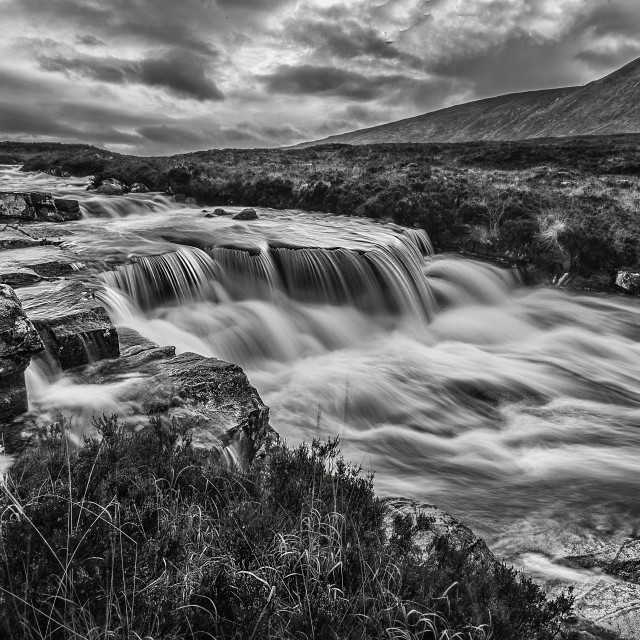 """The River Coe In Monochrome"" stock image"