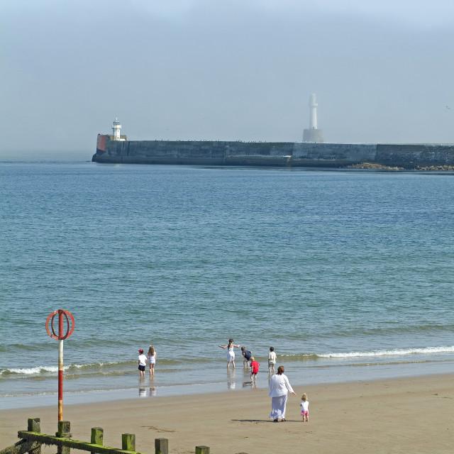"""""""Aberdeen Beach & Haar"""" stock image"""