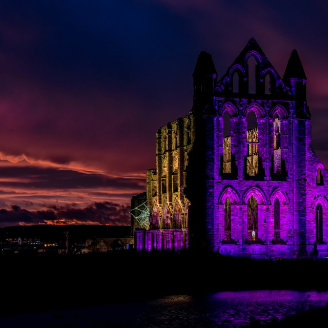 """Abbey by Night"" stock image"