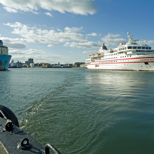 """Aberdeen Cruiseship Leaving"" stock image"