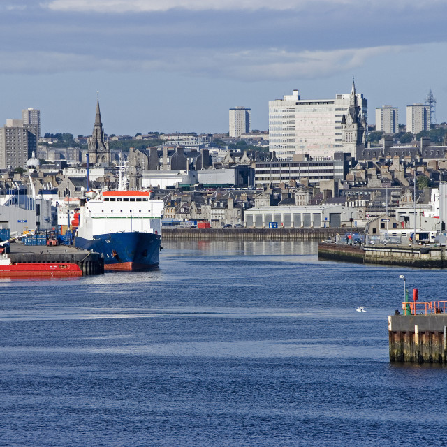 """Aberdeen Harbour fm Greyhope Rd"" stock image"