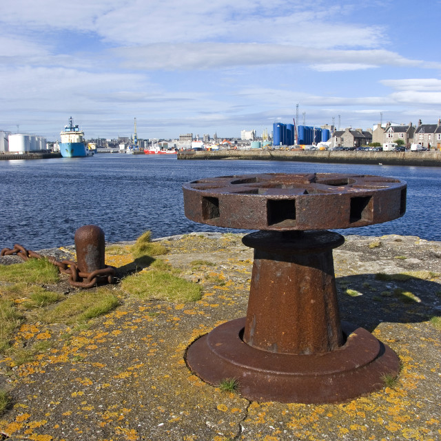 """""""Aberdeen Harbour fm Greyhope Rd"""" stock image"""