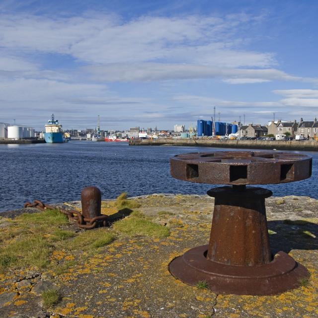"""Aberdeen Harbour Panorama"" stock image"