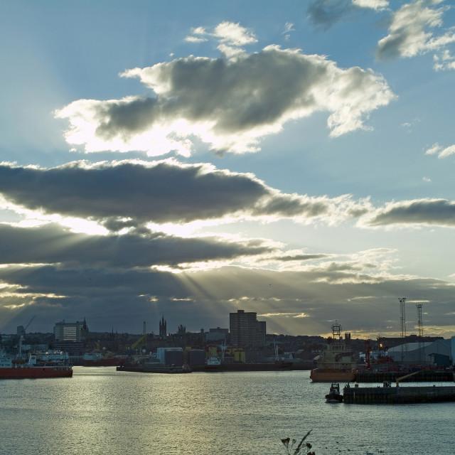 """Aberdeen Harbour Sunset"" stock image"