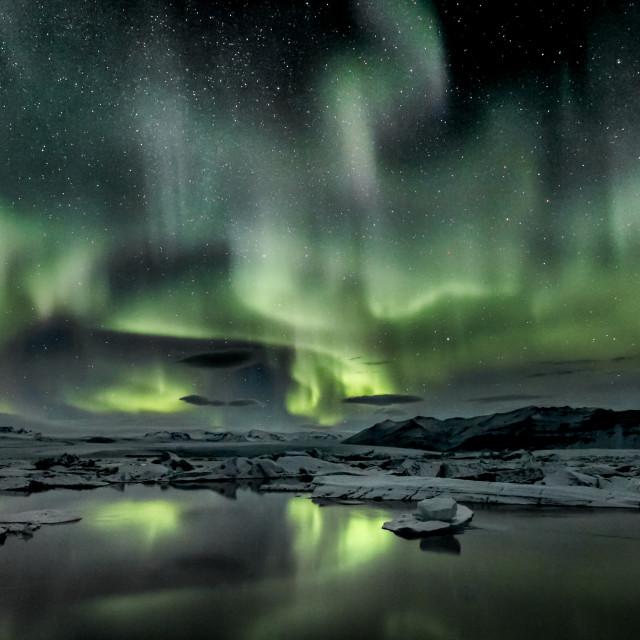 """""""Jokulsarlon Iceberg Aurora"""" stock image"""