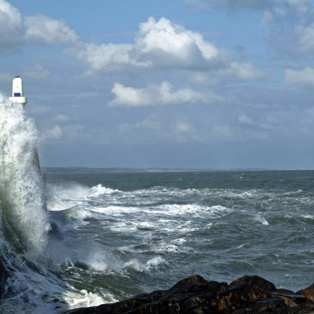 """Aberdeen Pier Waves"" stock image"