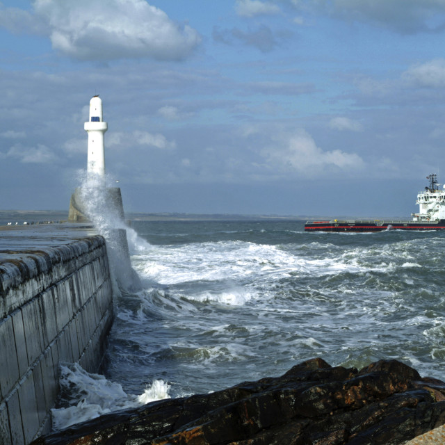 """""""Sea Wall Leaving Harbour"""" stock image"""