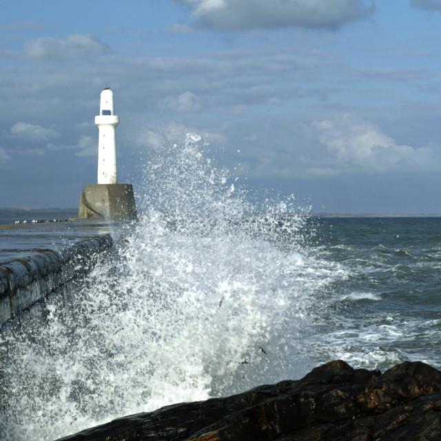 """Sea Wall Wave Action S2B7JHP"" stock image"
