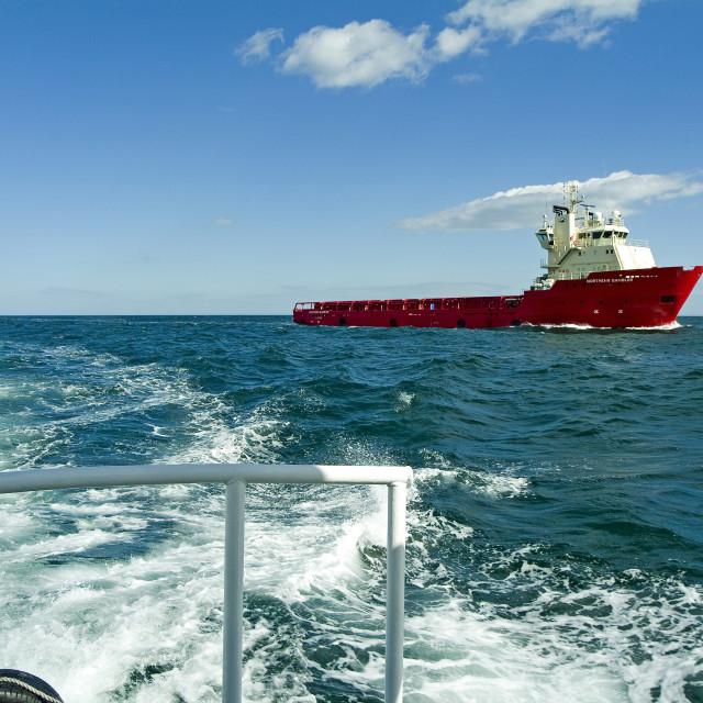 """Aberdeen Supply Ship at Sea"" stock image"