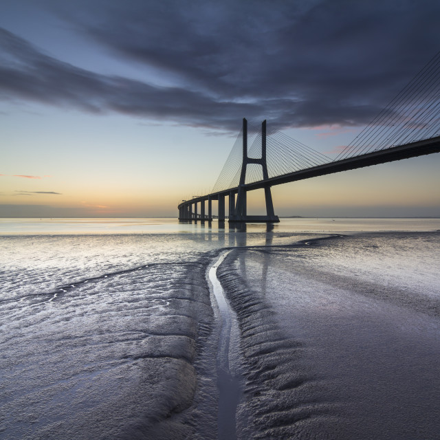 """Vasco da Gama bridge over Tagus river"" stock image"