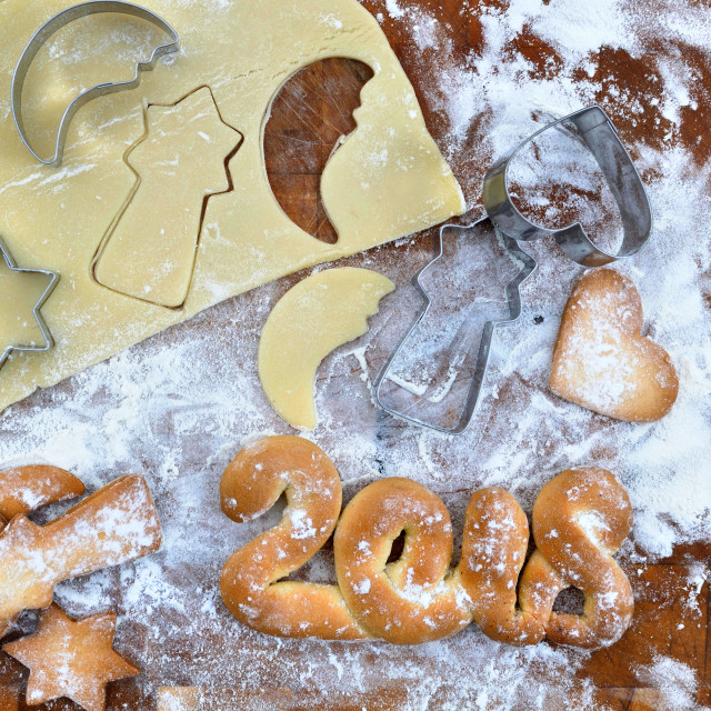 """""""2018 written with pastry"""" stock image"""