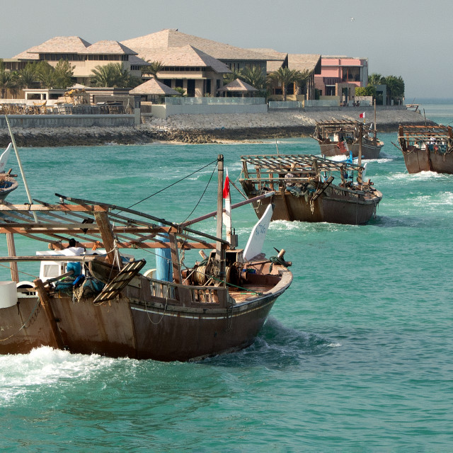 """Fishing boats off to work"" stock image"