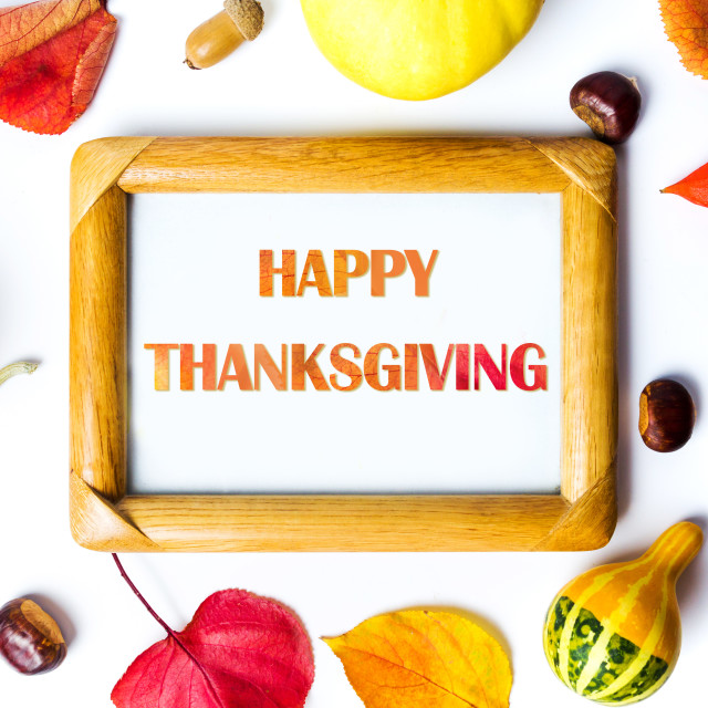 """Thanksgiving day background with with note"" stock image"