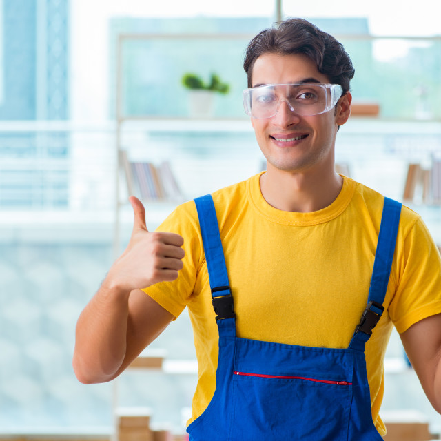 """The furniture carpenter working in the workshop"" stock image"