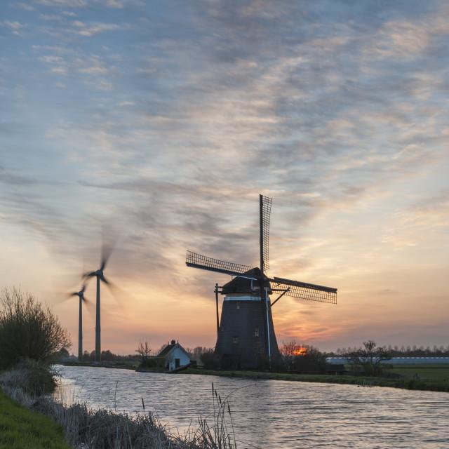"""""""Zelden van Passe Poldermolen at Dawn"""" stock image"""