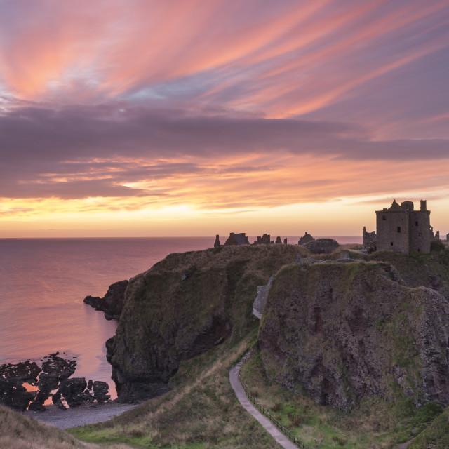 """Summer Dawn at Dunnottar Castle"" stock image"