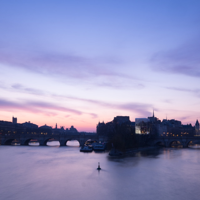 """Dawn at Pont Neuf, Paris"" stock image"