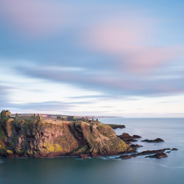"""Dawn at Duntottar Castle"" stock image"
