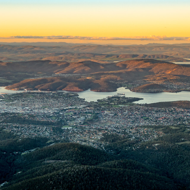 """Overview of Tasmania"" stock image"