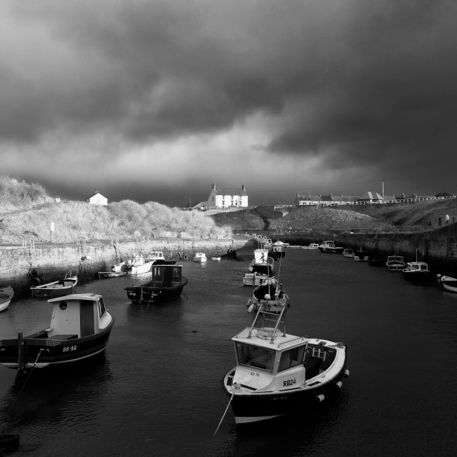 """seaton sluice harbour on a winters day"" stock image"