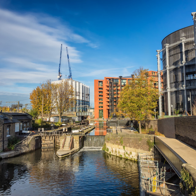 """Canals in London on the way to Camden,"" stock image"
