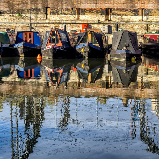"""Boats in the canals in London on the way to Camden"" stock image"