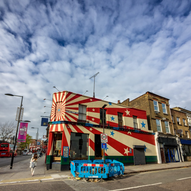 """Colourful building in Camden Town, London"" stock image"